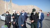 بازدید فرماندار شهرستان و شهردار مبارکه از نحوه اجرای طرح منع تردد در پلیس راه اصفهان - شیراز