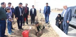 به مناسبت گرامیداشت هفته درختکاری کاشت درخت با همکاری شهروندان و خانواده های معظم شهدا