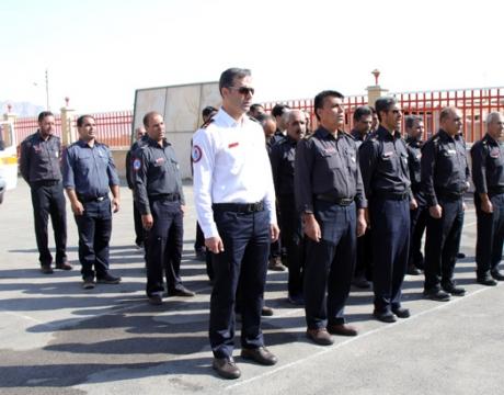 مراسم صبحگاه مشترک به مناسبت روز آتش نشانی و خدمات ایمنی