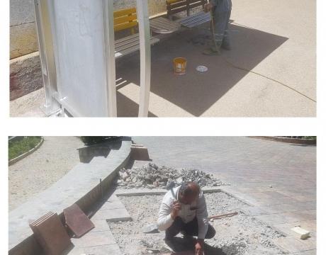 گزارش تصویری/ روایت تلاش در حوزه خدمات شهری شهرداری مبارکه / پایان رنگ آمیزی ایستگاه های اتوبوس محله دهنو و درچه-  تعمیرات کلی پارک سرارود